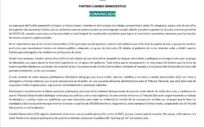 PARTIDO CAMBIO DEMOCRÁTICO COMUNICADO